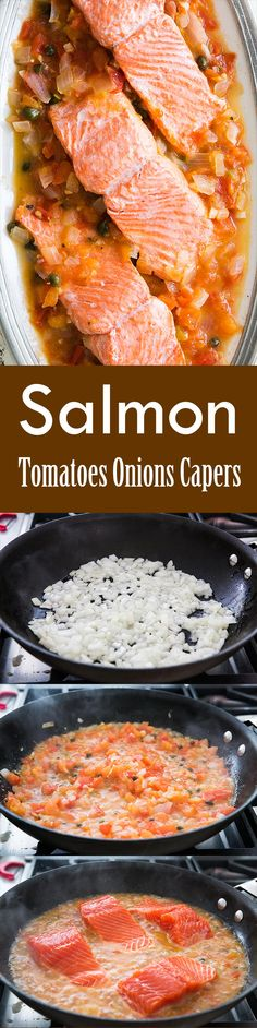 Quick, easy, healthy! Salmon fillets poached in a tomato onion caper sauce with white wine. Easy 1-pot midweek dinner! On SimplyRecipes.com