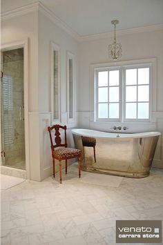 Carrara Venato Bathroom 6 x 12 Herringbone pattern Ceramic Floor Tiles, Bathroom Floor Tiles, Porcelain Tile, Bath Tub Fun, Bath Tubs, White Cabinets White Countertops, Subway Tile Showers, Shower Inserts, Herringbone Pattern
