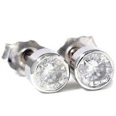 Bezel .50CT Diamond Studs Round Brilliant Cut 14K by Pompeii3
