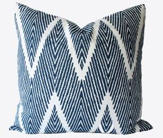 Decorative Designer Chevron Zig Zag Blue Ikat, 18x18, 20x20, 22x22 or lumbar Navy Blue Throw Pillow
