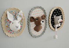 Trophée lapin + biche + chat fait main au crochet : Décoration pour enfants par ligne-retro