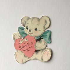 Baby's First Valentines, vintage Valentines Day card, 1950s Valentine's card, teddy bear card, unused Valentine card, by SandyWigginsImages on Etsy
