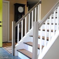 before and after staircase makeover, design d cor, painting, stairs, Final Stair Reveal Painted Staircases, Painted Stairs, Wooden Stairs, Stained Staircase, Painted Wood, Wood Handrail, Banisters, Stair Treads, Staircase Runner