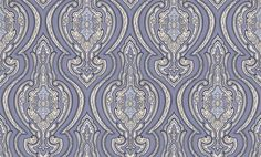 Grand Damask Ink (EM17053) - Galerie Wallpapers - An all over grand, damask wallpaper design with decorative detailing. Shown here in ink blue and cream. Other colourways are available. Please request a sample for a true colour match. Paste-the-wall.