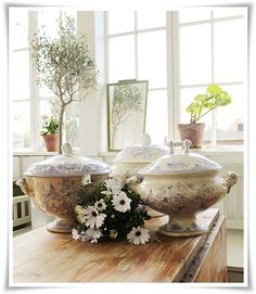 Vintage House  those soup tureens are beautiful!