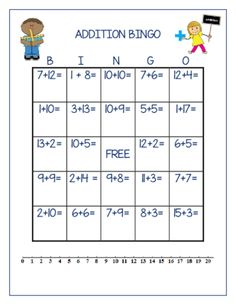 Each BINGO board has a unique combination of addition problem with sums up to Each board also has a number line on the bottom. See the sample! Has a number-line on the bottom to help children with the addition. Math Bingo, Fun Math, Math Games, Math Addition, Addition And Subtraction, Rainy Day Activities For Kids, 1st Grade Math, Grade 1, Second Grade