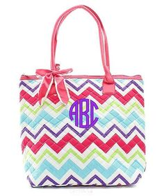 "Personalized Multi Chevron 16"" Quilted Tote Bag Purse - Pink"