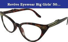 Revive Eyewear Big Girls' 50's Vintage Style Cats Eye Brown Frame/ Clear Lens Non Polarized Glasses 140. Includes drawstring pouche excellent quality.