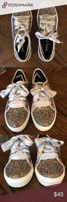 Dirty Laundry Celebration Sparkle Tennis Shoes 7 Fancy fun in these adorable glitter sneakers featuring sealed glitter to avoid loss of sparkle and silver ribbon laces. New with box. Dirty Laundry Shoes Sneakers