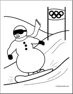 coloring page olympics snowboarding cute cartoon snowman snowboarding coloring page in
