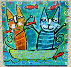 Tracey Ann Finley Original Outsider Wood Folk Collage Painting Cat Fish Boat