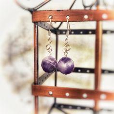 Handmade amethyst gemstone earrings made with sterling silver hooks Amethyst Gemstone, Gemstone Earrings, Handmade Items, Handmade Gifts, Wind Chimes, Hooks, Gemstones, Sterling Silver, Unique Jewelry