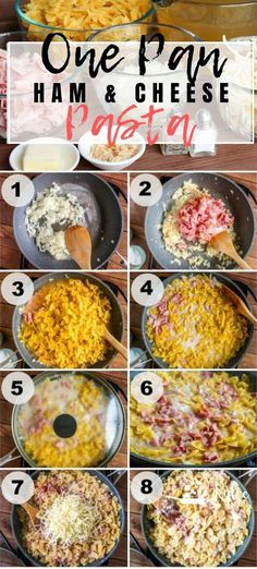 This One Pan Ham & Cheese Pasta is a weeknight winner ready in less than 30 minutes that makes EVERYONE need seconds. Change up the pasta, and the cheese, but make it over and over! Wheat Pasta Recipes, Yummy Pasta Recipes, Pork Recipes, Crockpot Recipes, Dinner Recipes, Noodle Recipes, Frugal Recipes, Shrimp Recipes, Sauce Recipes
