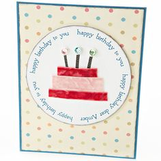Rhinestone brads serve as candle flames to light up the cake on this birthday card. Adhesive dots secure three strips of velvet ribbon for the cake tiers. Place the cake inside a circle to make it stand out against a patterned paper background.