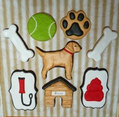 I love the dog's fur. Looks like they brushed out the royal icing on the tail, ears, legs and body, and then luster dusted with deeper color.  Love the dog house. Julie's Cookie Creations: May 2014