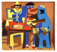 Three Muppet Musicians, in the style of Picasso.