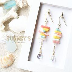 パステルサンゴのピアスシンプルバージョン マリンボーダーの色違いです サンゴが可愛いのでシンプルもいい感じです  https://minne.com/items/5185693  #accessories #handmade #tunneyslab #ハンドメイド #minne #パステル #サンゴ