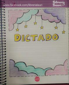 #caratula #nubes #estrellas #escolar Notebook Drawing, Notebook Art, Page Borders Design, Border Design, Doodle Lettering, Lettering Design, Notebook Cover Design, Page Decoration, Funny Questions
