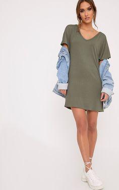 d017f553fc5 Basic Khaki V Neck T Shirt Dress