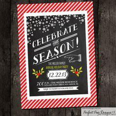 Printable Holiday Party Invitation, chalkboard typography neutral birthday, bridal winter snow christmas holiday - DIY Digital on Etsy, $15.75