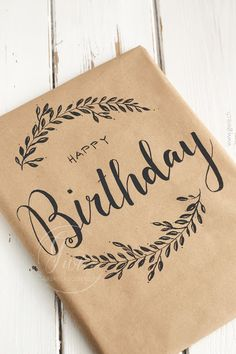 Happy Birthday Cards Handmade, Creative Birthday Cards, Diy Birthday, Creative Gift Wrapping, Creative Gifts, Calligraphy Cards, Calligraphy Birthday Card, Birthday Card Drawing, Bday Cards