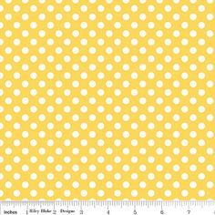 Yellow and White Small Polka Dot Cotton by RaspberryCreekFabric, $8.25