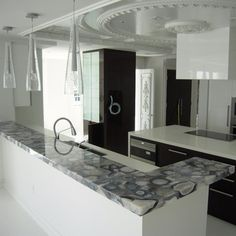 Grey Agate Countertop - Semi Precious - modern - kitchen countertops - miami - Marble of the World
