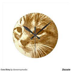 Cute Kitty Round Clock