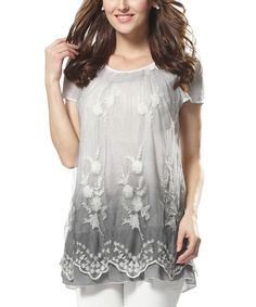 Love this Simply Couture Gray Floral Lace Short-Sleeve Tunic - Plus by Simply Couture on #zulily! #zulilyfinds