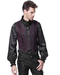 Punk Rave Hombre Chaleco Rojo Vintage Steampunk Gótico Victoriano Regency - Modasteampunk I Steampunk I Moda Steampunk Gothic Fashion Men, Vampire Fashion, Gothic Men, Victorian Fashion, Steampunk Fashion Men, Moda Steampunk, Victorian Steampunk, Punk Mode, Gothic Outfits
