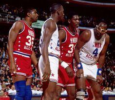 Magic Johnson, Michael Jordan, Hakeem Olajuwon and Moses Malone