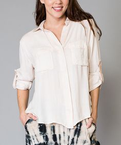 Another great find on #zulily! Light Coral Button-Up Top by Morning Apple #zulilyfinds