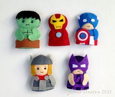 Digital Pattern: Superheroes Felt Finger Puppets by FloralBlossom