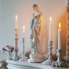 All white Virgin Mary altar. Blessed Mother Mary, Blessed Virgin Mary, Immaculée Conception, Catholic Altar, Prayer Corner, Mama Mary, Holy Mary, Prayer Room, Religious Art