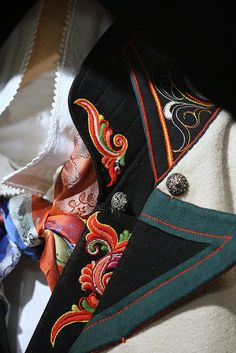 National costume (man) from Telemark county, Norway - detail Folk Costume, Costumes, Scandinavian Embroidery, Folk Clothing, Going Out Of Business, Bridal Crown, Fashion History, Traditional Dresses, Norway