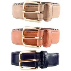 Unisex Basic Leather Belt(3-Pack)  | American Apparel ($54) ❤ liked on Polyvore featuring accessories, belts, genuine leather belts, 100 leather belt, real leather belts, leather belts and american apparel