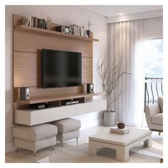 Manhattan comfort - city 2 floating wall theater entertainment center in white gloss. Home Entertainment Centers, Floating Entertainment Center, Entertainment Wall, Living Room Tv, Small Living Rooms, Living Room Designs, Modern Living, Tv Room Small, Tv On Wall Ideas Living Room
