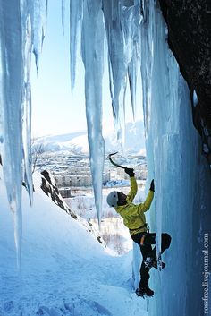 Ice climbing at Khibiny mountains, Russia.