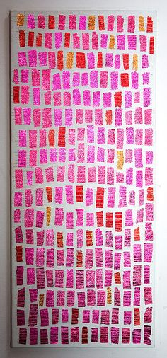 papiertjes - Chocolate wrappers sewn on canvas by Jane Schouten