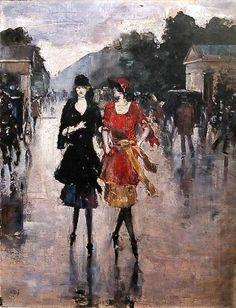 Lesser Ury - Two Girls Walking Along the Street, 1921