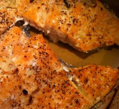 """Easy Baked Salmon- Olive oil and lemon juice seem to be the only """"required"""" ingred.-quick, basic, flexible recipe, works well with frozen fillets also Baked Salmon Recipes, Fish Recipes, Seafood Recipes, Cooking Recipes, Healthy Recipes, Recipes For Salmon Filets, Healthy Food, Cooking Games, Eating Healthy"""