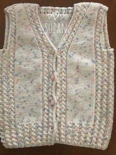 the Bebekyelek - Battaniye Baby Knitting Patterns, Baby Cardigan Knitting Pattern, Cardigan Pattern, Knitting Stitches, Knitting Designs, Crochet Designs, Free Knitting, Crochet Slippers, Knit Crochet
