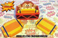 DONKEY KONG Coaster Holder with 6 Barrel Coasters perler beads by MadamFandom on etsy ***This is an original Madam Fandom design***