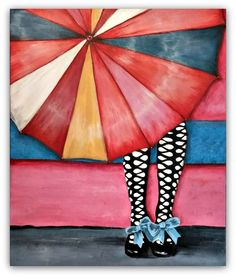 """ARTFINDER: Out of the Rain by Jessica Sanders - Inspired by a vintage photograph, """"Out of the Rain"""" is a wonderfully composed painting featuring an open umbrella being held by a young woman wearing retro s..."""