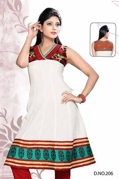 Cotton Kurti top off white with embroidery on the neckline, hem and shoulder.   £35