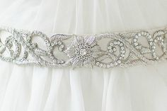 SILVER BEADED GOWN SASH Bridal Belts, Bridal Sash, Bridal Gowns, Mermaid Crown, Beaded Gown, Silver Beads, Bridal Accessories, Crowns, Diy Ideas