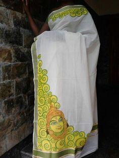 . Saree Painting, Kerala Mural Painting, Dress Painting, Tanjore Painting, Indian Art Paintings, Fabric Painting, Hand Painted Sarees, Fabric Paint Designs, Fabric Flower Tutorial