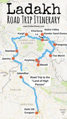 Ladakh Road Trip Itinerary Map – Delhi – Gurgaon – Jammu – Ramban – Kargil – Khardungla – Leh – Nubra Valley – Hunder – Pangong – Tso Moriri – Keylong – Manali We are want to say thanks if you like to share this post. Travel Maps, Travel List, Asia Travel, Places To Travel, Travel Destinations, Funny Travel, Srinagar, Agra, Road Trip Playlist