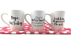 DIY Sarcastic Comments Mugs. Cut files in the Pazzles Craft Room. See how easy it is to make these. Six different sarcastic quotes.