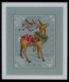$10.79 Donner - Christmas Eve Couriers by Nora Corbett Item: NC114 Type: Cross Stitch Patterns Stitched on 32 count Twilight Blue Linen with DMC floss, Kreinik #4 Braid (011HL, 028, 684, 1432), Caron Collection Waterlilies (204), Rainbow Gallery Whisper (W88), and Mill Hill Beads (10031, 10034, 10069, 10071, 18010, 13013, 13026-2, 13084-2). The stitch count is 80W x 100H.